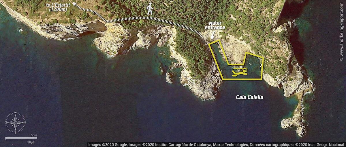 Cala Calella snorkeling map