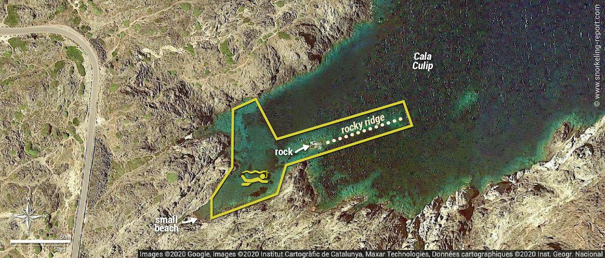 Cala Culip snorkeling map