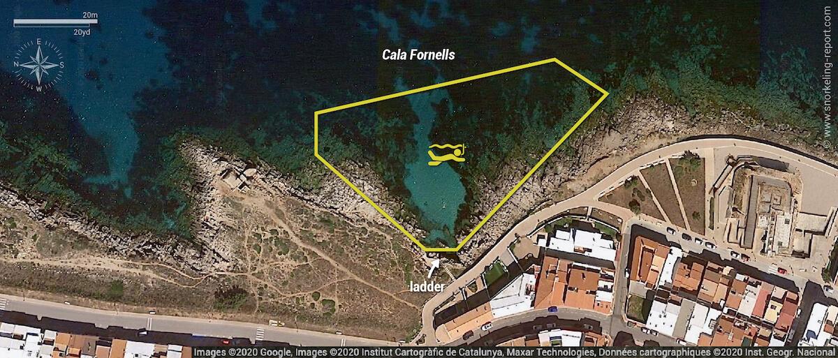Cala Fornells snorkeling map, Menorca