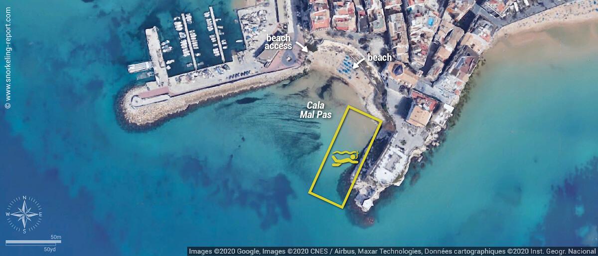 Cala Mal Pas snorkeling map, Benidorm