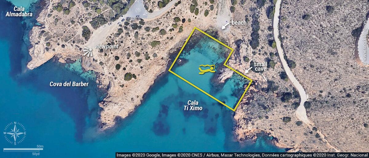 Cala Ti Ximo snorkeling map, Benidorm