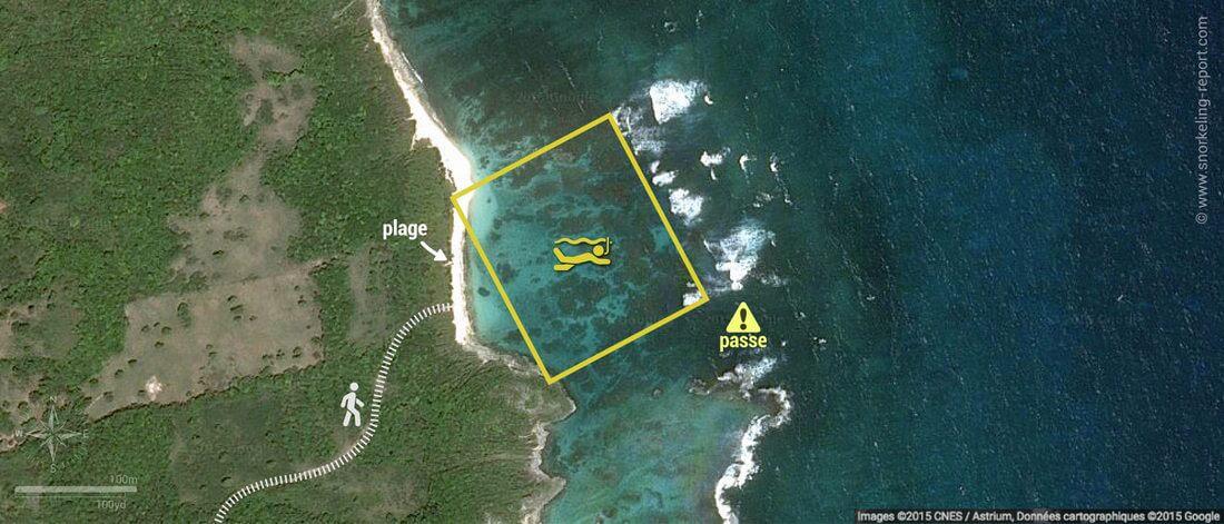 carte snorkeling à Anse Feuillard, Marie-Galante