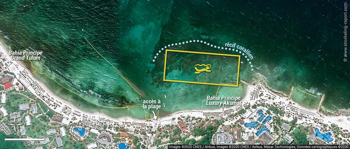 Carte snorkeling au Bahia Principe Akumal