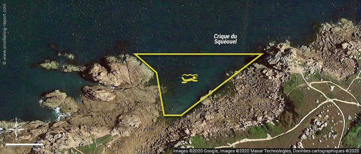 Crique du Squeouel snorkeling map