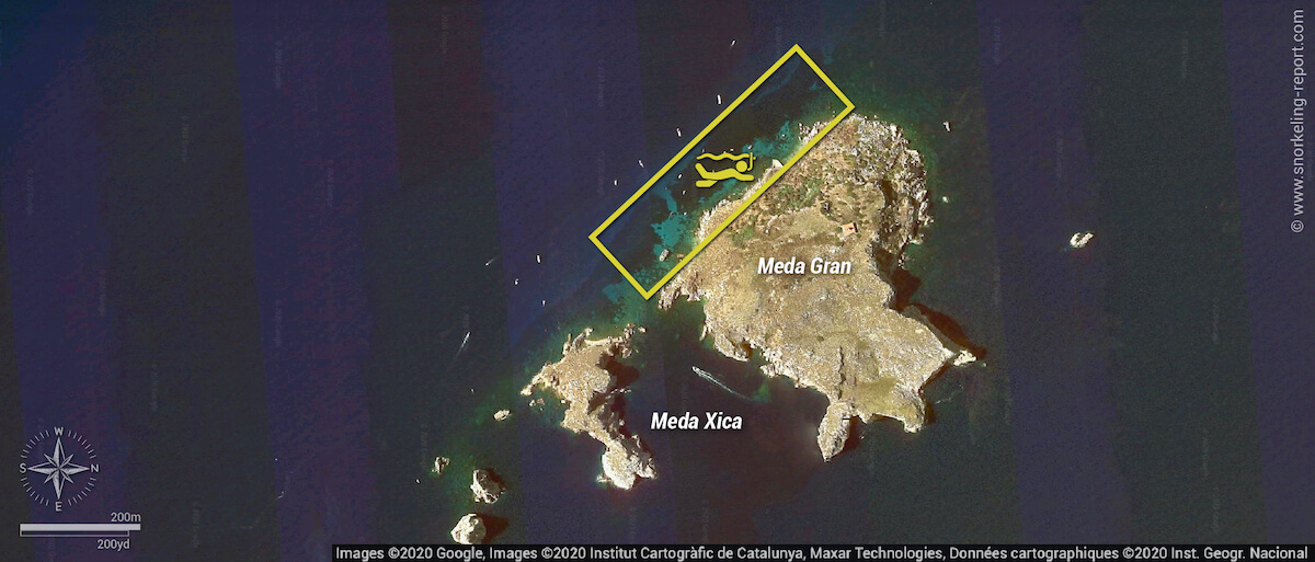 Carte snorkeling aux Îles Medes, Espagne