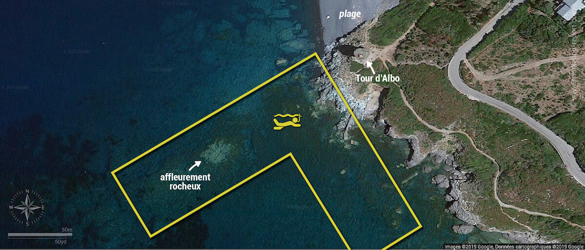 Carte snorkeling à la Marine d'Albo, Corse