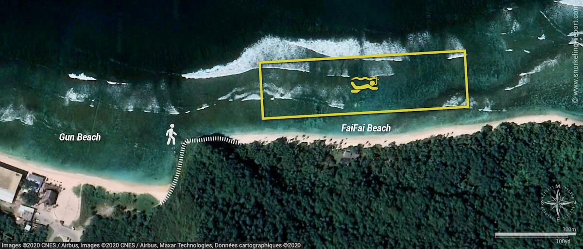 FaiFai Beach snorkeling map