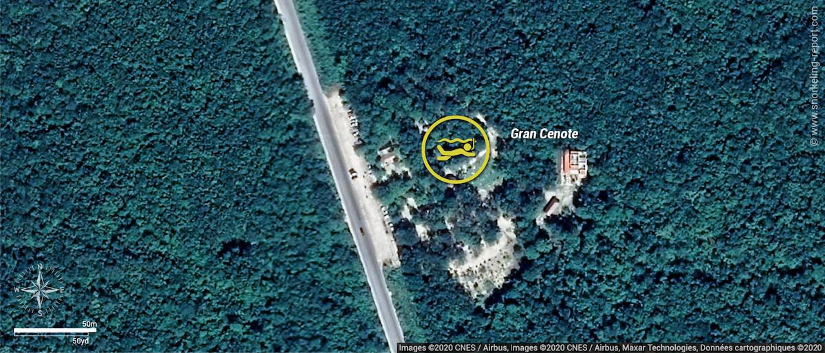 Gran Cenote snorkeling map