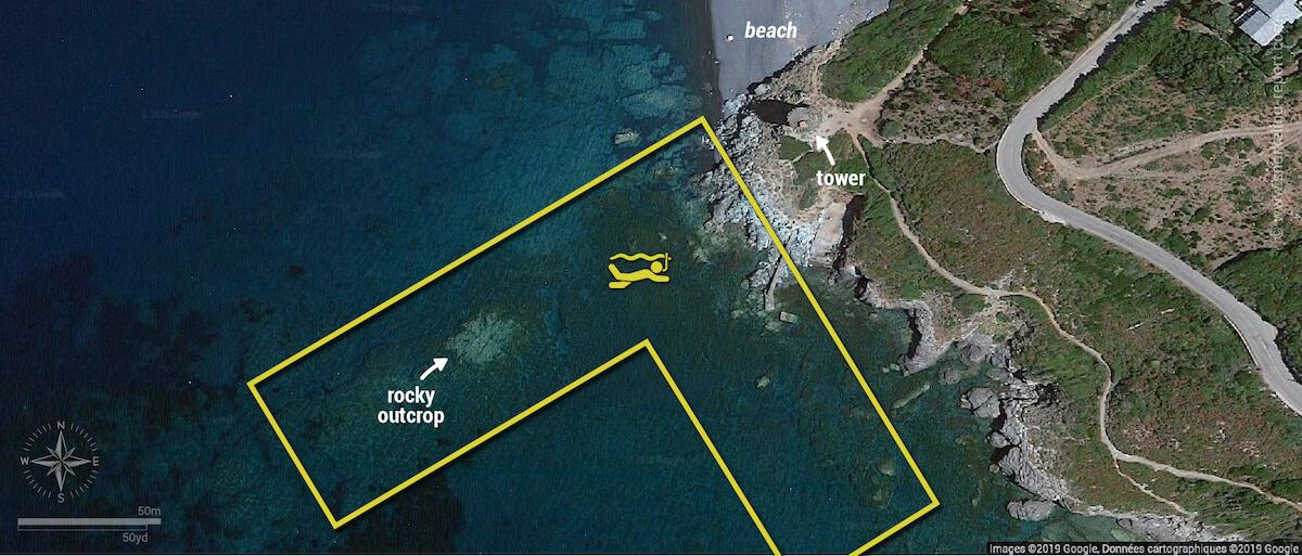 Marine d'Albo snorkeling map, Corsica