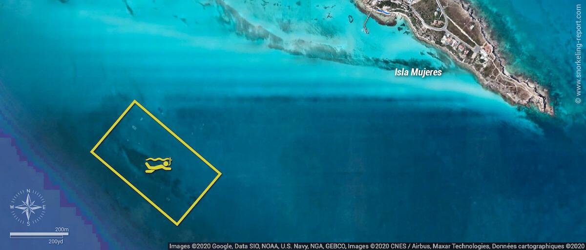 Carte snorkeling au MUSA, Isla Mujeres