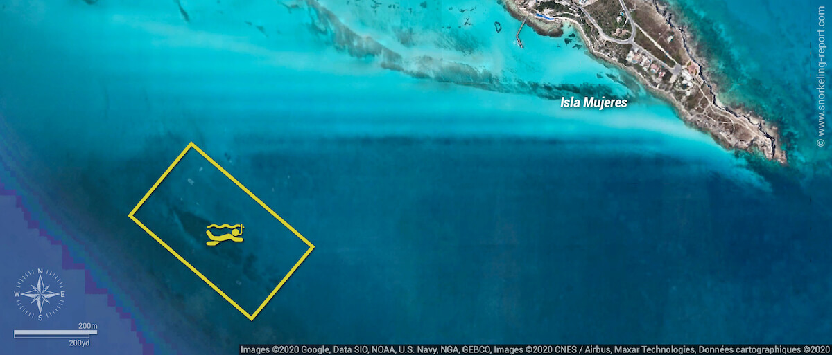 MUSA snorkeling map, Isla Mujeres