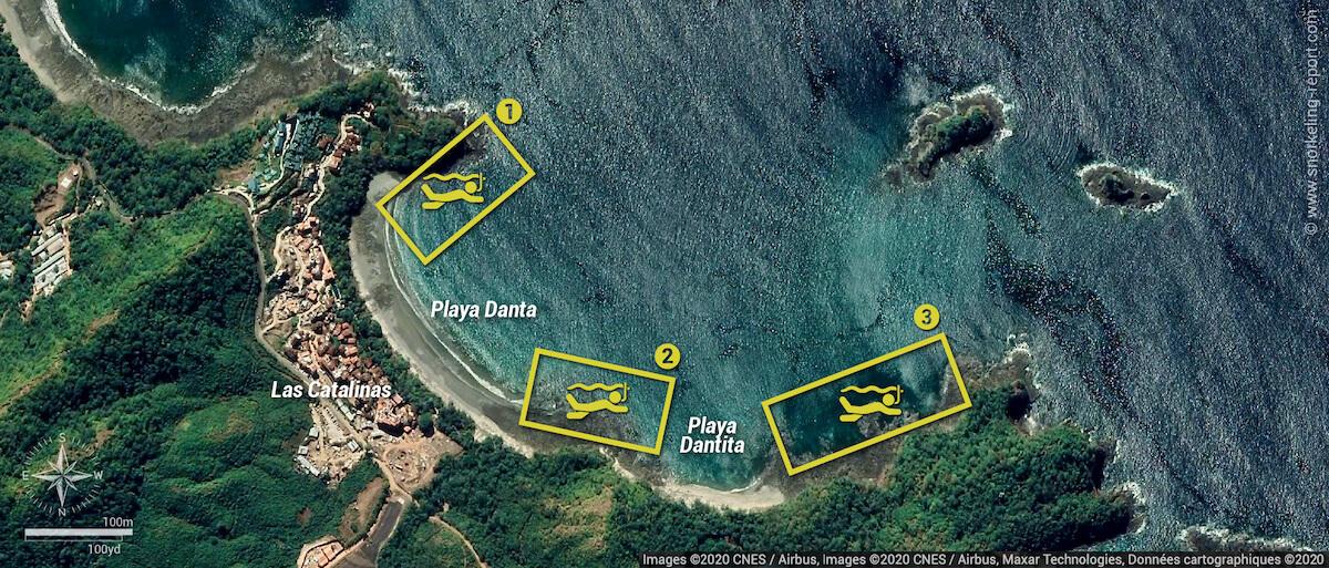 Playa Danta & Dantita snorkeling map