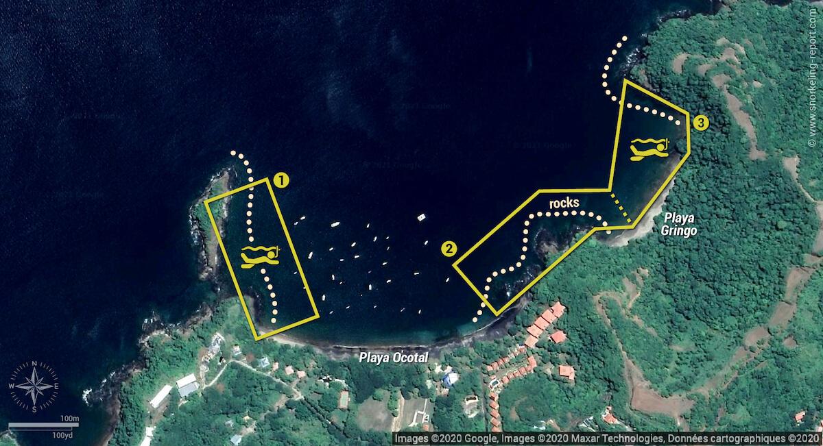 Playa Ocotal & Playa Gringo snorkeling map