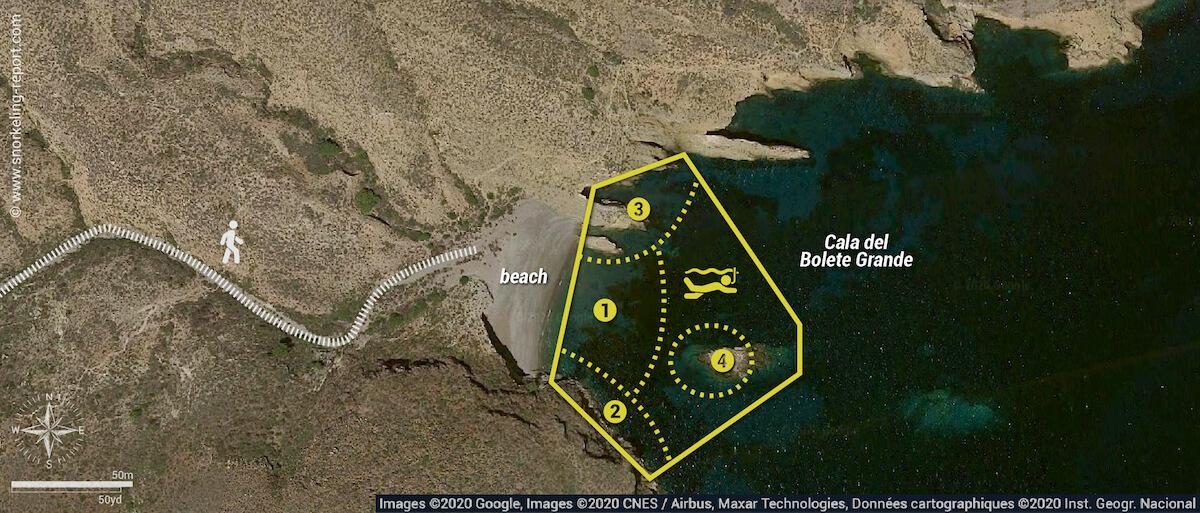 Cala del Bolete Grande, Cabo Tiñoso snorkeling map