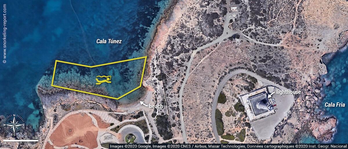 Cala Túnez snorkeling map, Cabo de Palos