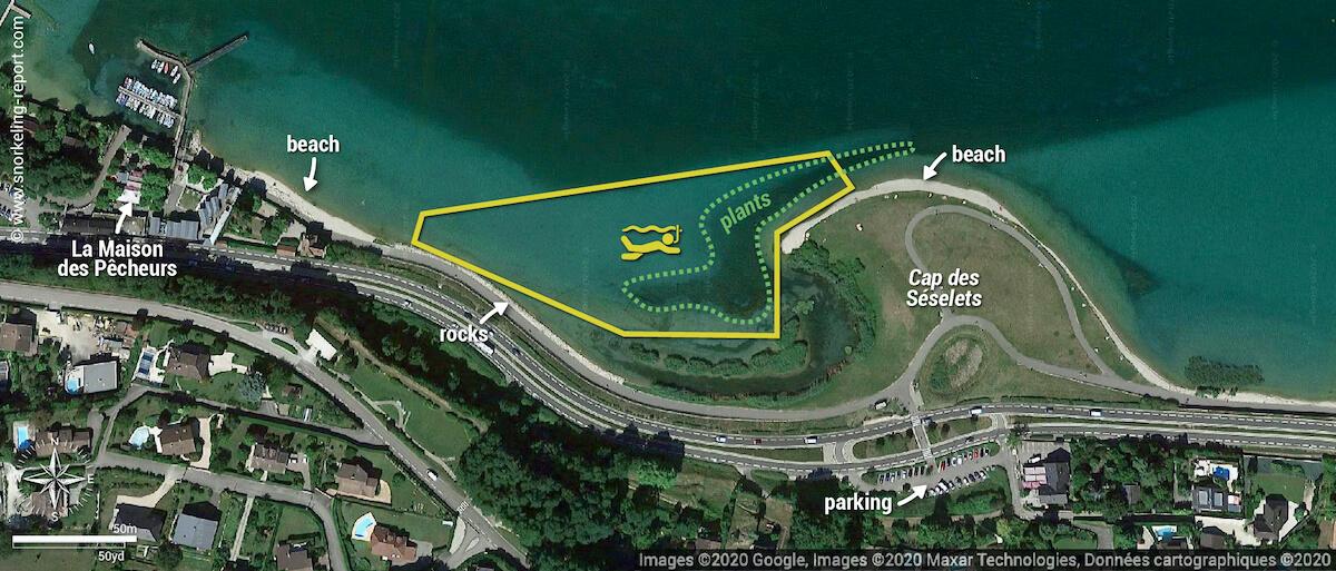 Cap des Seselets snorkeling map, Bourget Lake