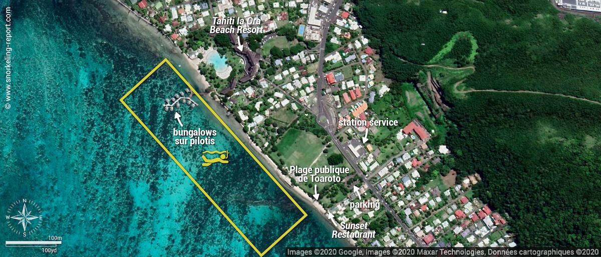 Carte snorkeling au Tahiti Ia Ora Beach Resort, Punaauia