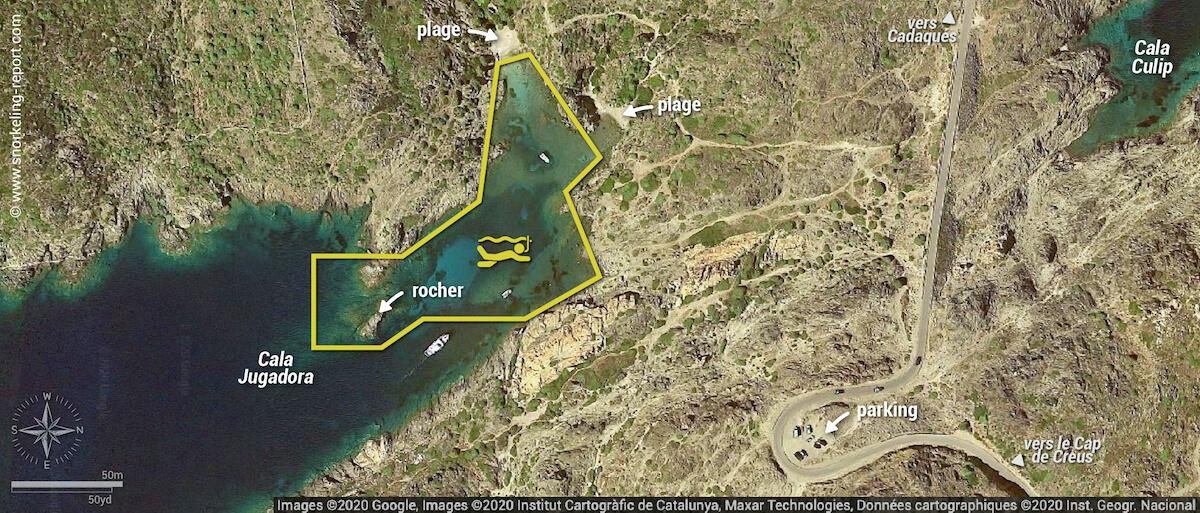 Carte snorkeling à Cala Jugadora