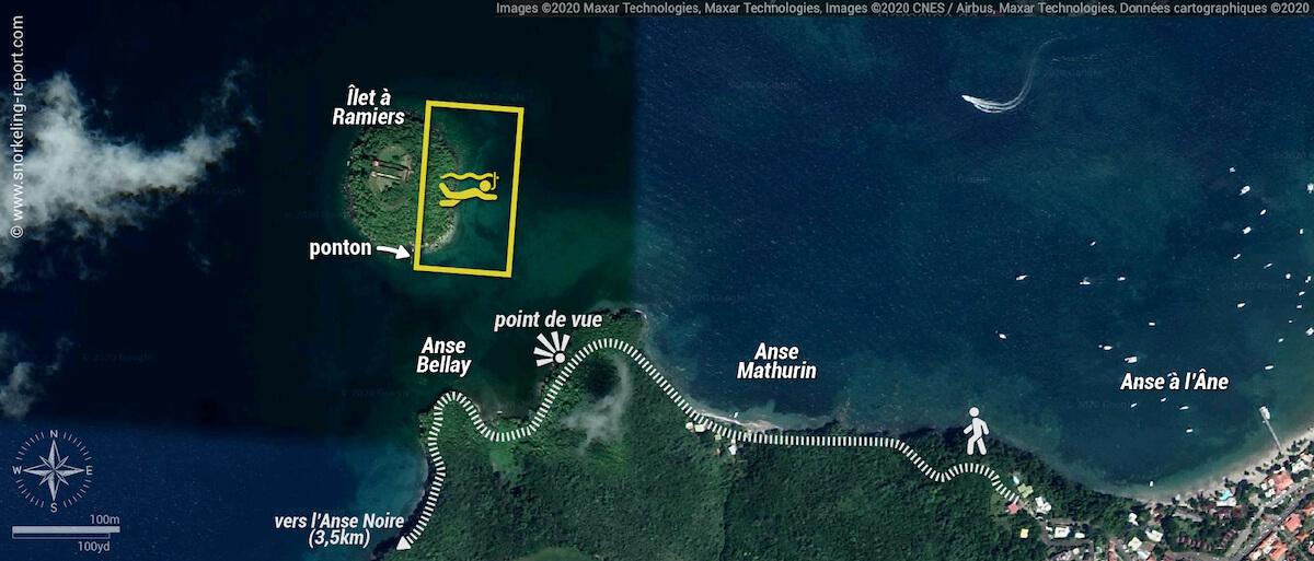 Carte snorkeling à l'Îlet à Ramiers, Martinique