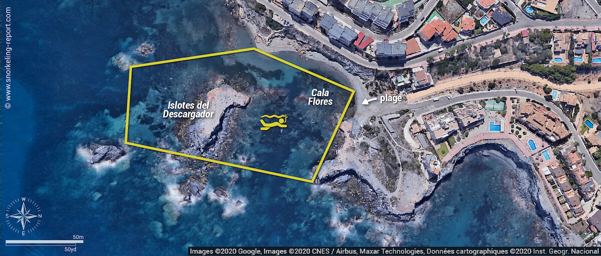 Carte snorkeling aux Islotes del Descargador