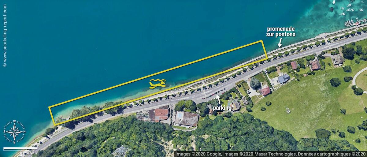 Carte snorkeling aux Pontons Suspendus, Lac d'Annecy