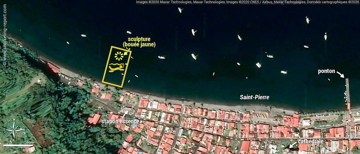 Carte snorkeling à Manman Dlo, Saint-Pierre