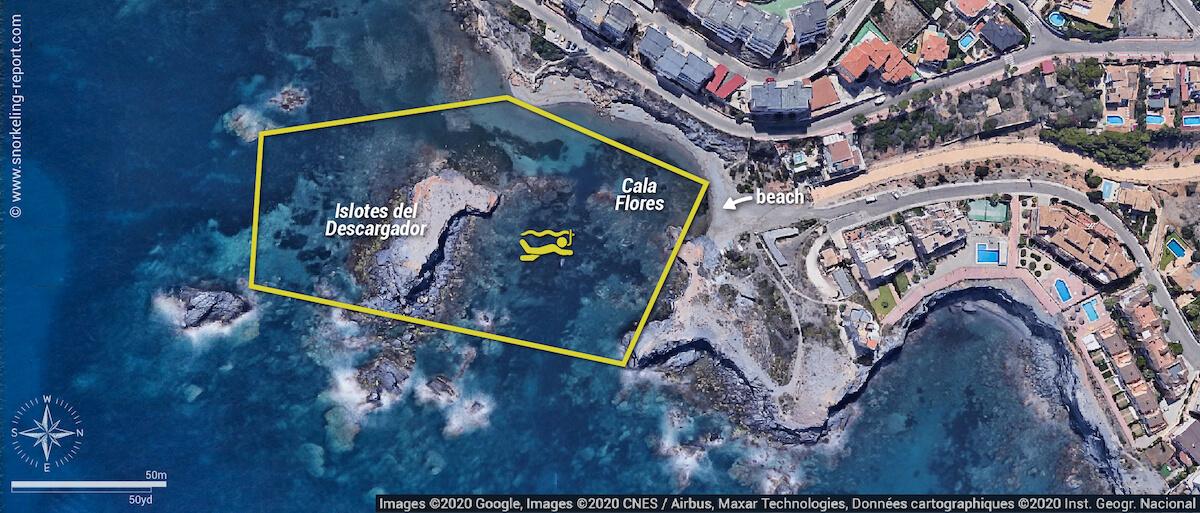 Islotes del Descargador snorkeling map