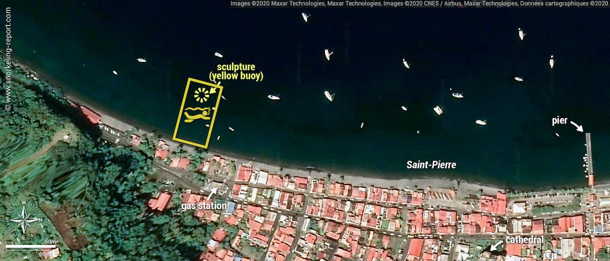Manman Dlo sculpture snorkeling map