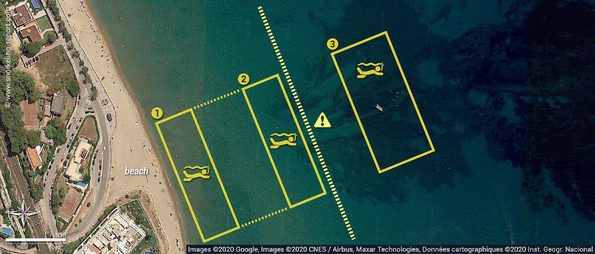 Masía Blanca Marine Reserve snorkeling map