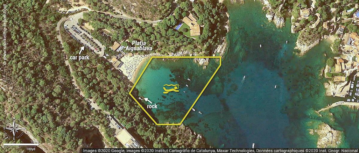 Platja Aiguablava snorkeling map