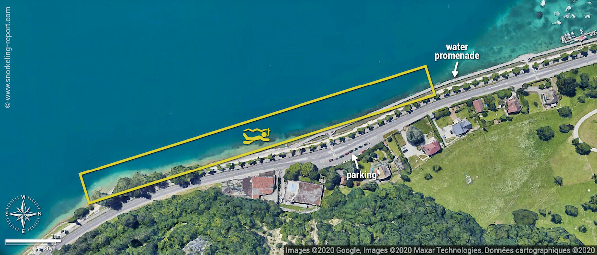 Pontons suspendus snorkeling map, Lake Annecy