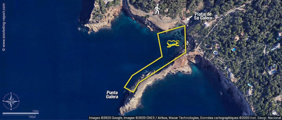Punta Galera snorkeling map, Ibiza