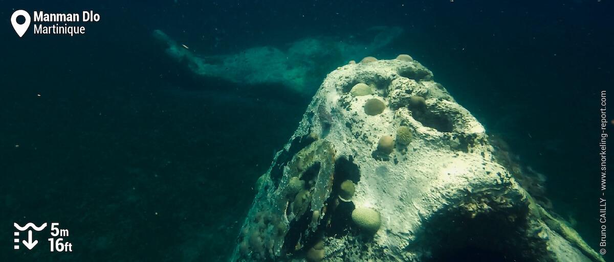 Snorkeling Manman Dlo mermaid sculpture