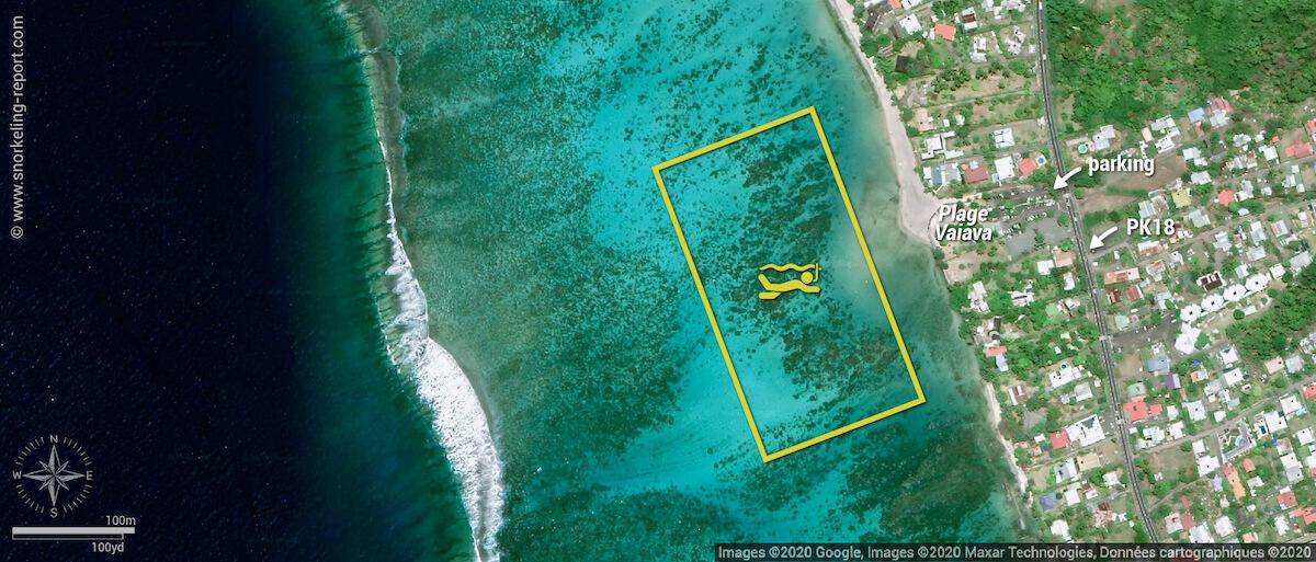 Carte snorkeling à la Plage Vaiava (PK18), Tahiti