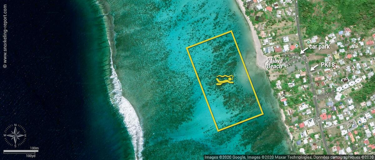 Plage Vaiava/PK18 snorkeling map