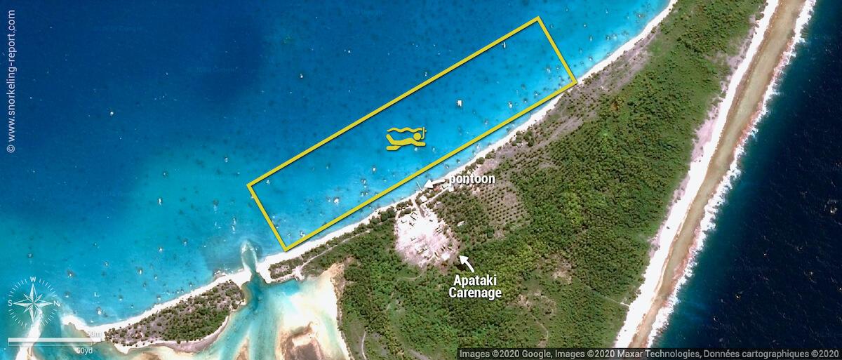 Apataki carenage snorkeling map