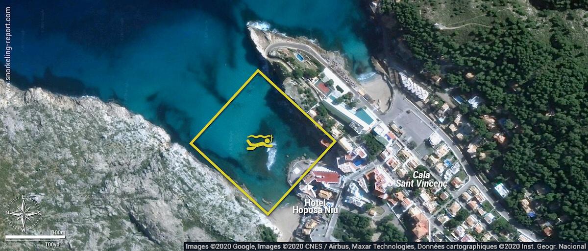 Cala Sant Vicenç snorkeling map, Mallorca