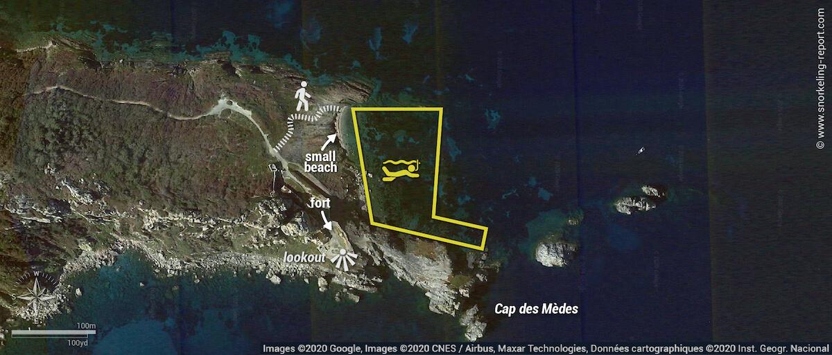 Cap des Mèdes snorkeling map (Porquerolles)