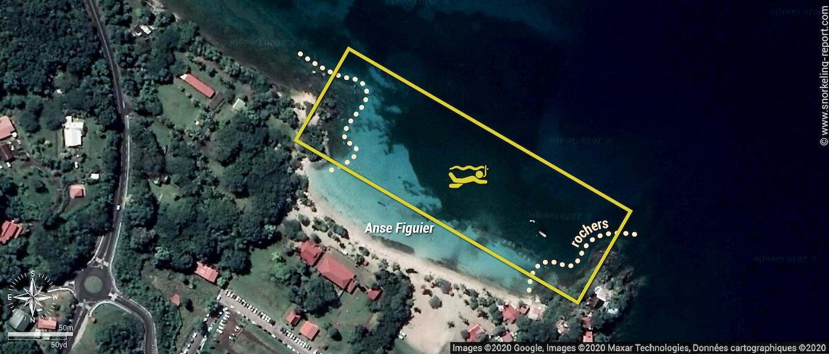 Carte snorkeling à l'Anse Figuier, Martinique