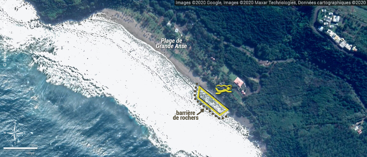 Carte snorkeling à Grande Anse, La Réunion