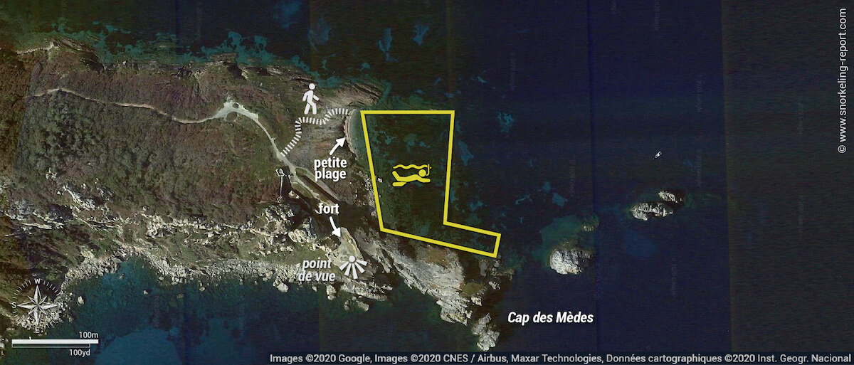 Carte snorkeling au Cap des Mèdes à Porquerolles