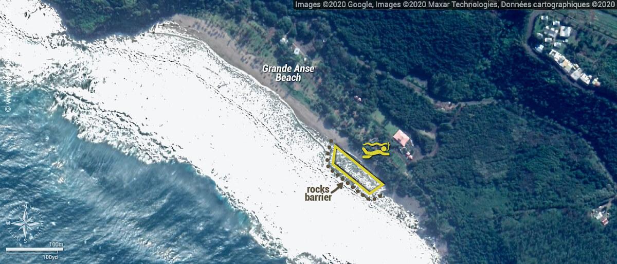 Grande Anse snorkeling map