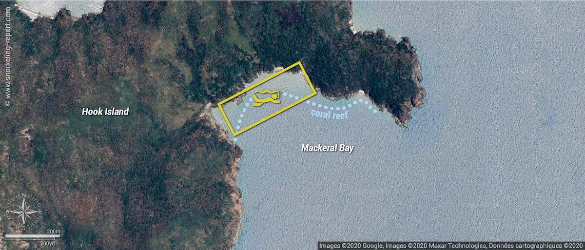 Mackeral Bay snorkeling map
