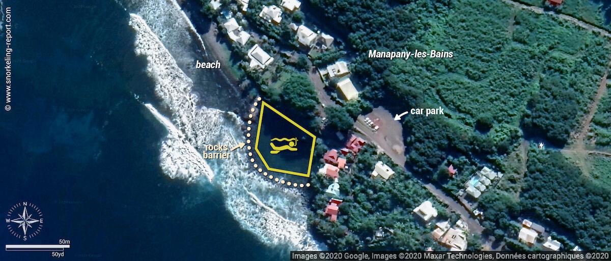 Manapany snorkeling map, Reunion Island