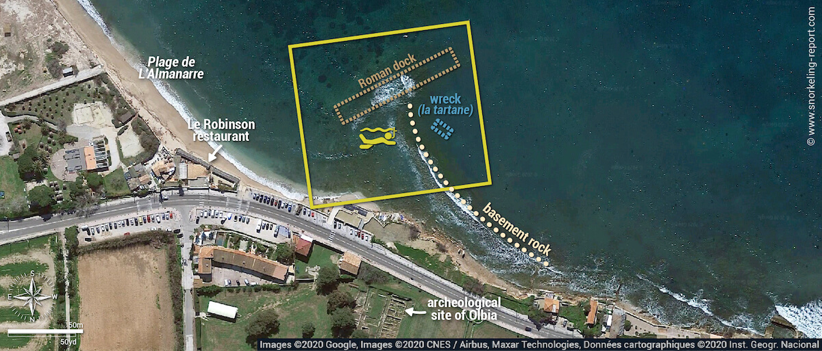 Archaeological site of Olbia - Almanarre Beach snorkeling map