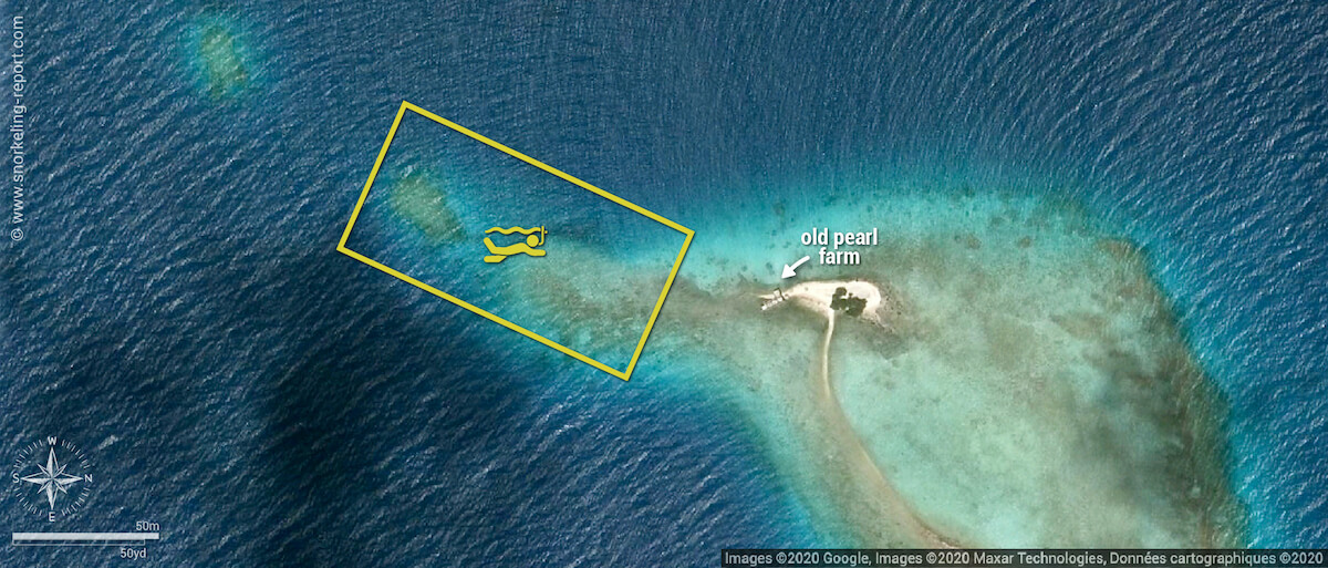 Old Pearl Farm snorkeling map, Tikehau