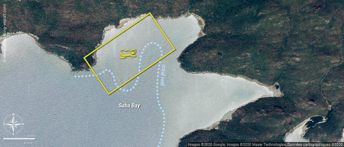 Saba Bay snorkeling map, Whitsunday Islands