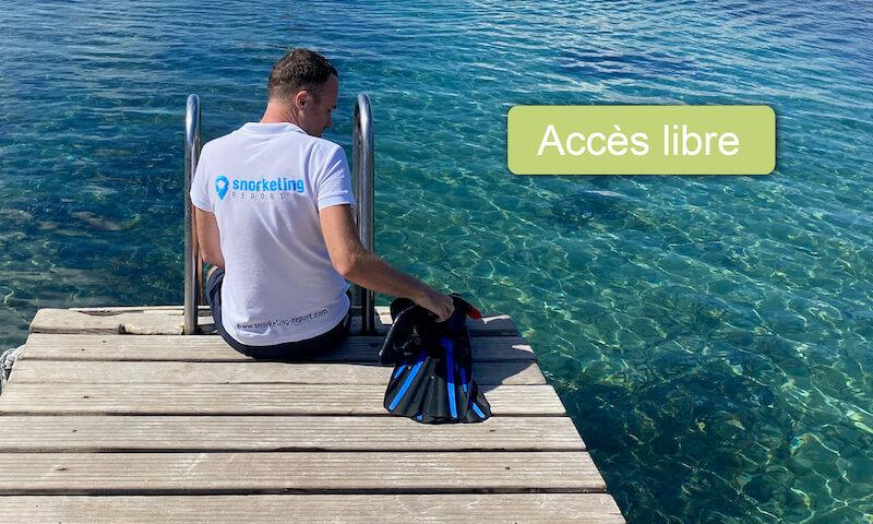 Snorkeling en accès libre depuis le bord de mer