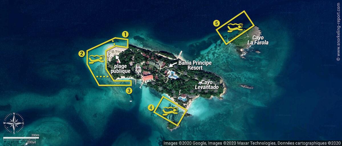Carte snorkeling à Cayo Levantado, République dominicaine