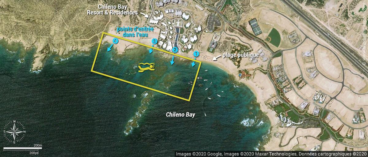 Carte snorkeling à Chileno Bay
